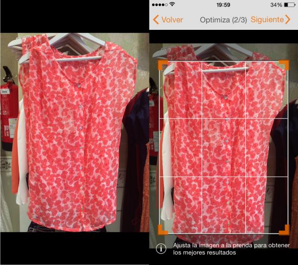 Buscar ropa por imagen en iPhone, Android® y Windows Phone