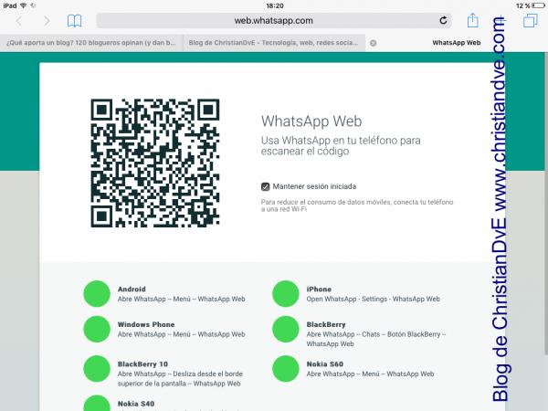 WhatsApp web en el iPad