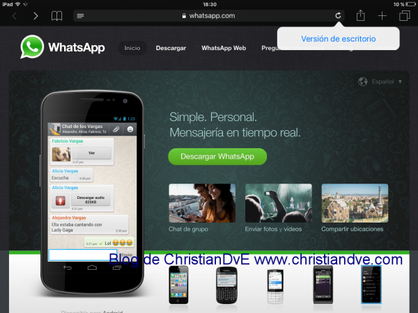 "WhatsApp web - opción ""Versión de escritorio"" en iOS 9"