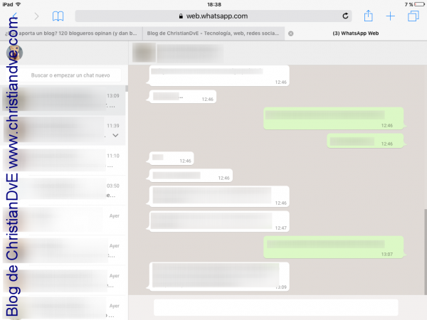 WhatsApp en el iPad - Chats