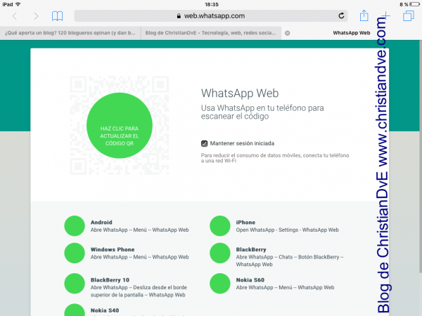 WhatsApp en iPad con WhatsApp web