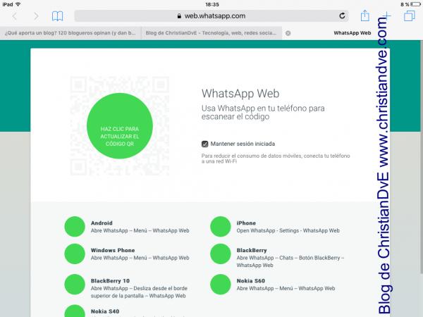 WhatsApp en iPad con WhatsApp web