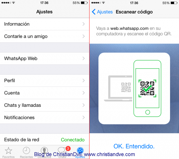WhatsApp web en el iPhone - Escanear QR