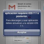 La aplicación requiere iOS 7.1 o superior