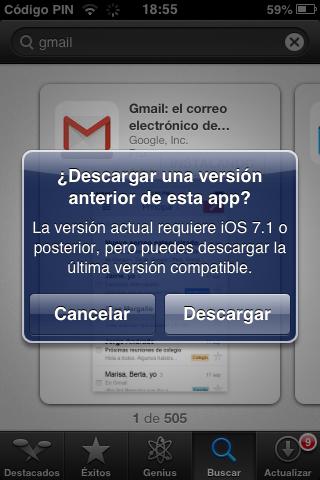 ¿Desea bajar una version anterior de esta app? La version vigente solicita iOS® 7.1 o posterior, sin embargo puede bajar la ultima version compatible