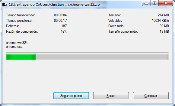 Descomprimir Chromium en Windows