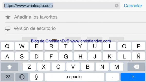 Versión de escritorio en Safari de iOS 8