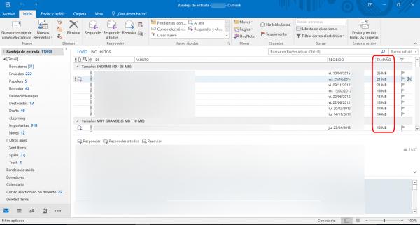 Ordenar los correos por tamaño en Gmail