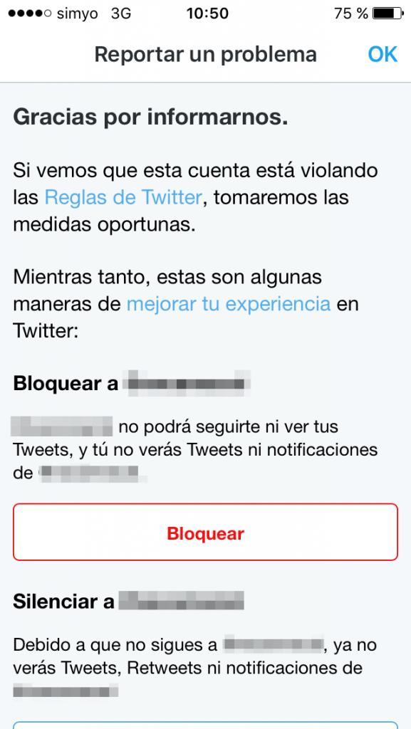 Reportar a Twitter un problema con una cuenta
