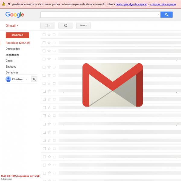 Gmail: No podrias enviar ni recibir correos porque no teneis espacio de almacenamiento