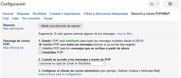 Configuración de POP en Gmail