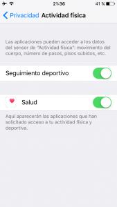 Ajustes de seguimiento deportivo en el iPhone