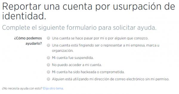 Formulario para denunciar una cuenta por usurpación de identidad