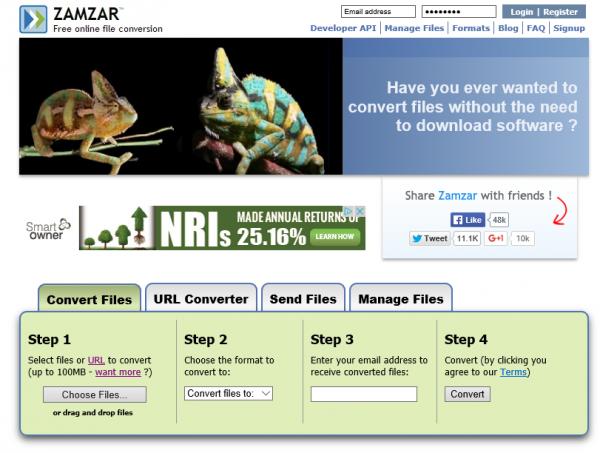 Zamzar, una navaja suiza de las conversiones de ficheros online