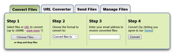 Conversión de ficheros con Zamzar