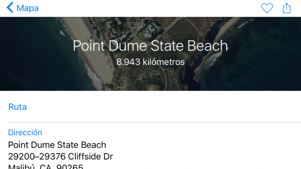 Punto escogido en Apple Maps - Point Dume State Beach