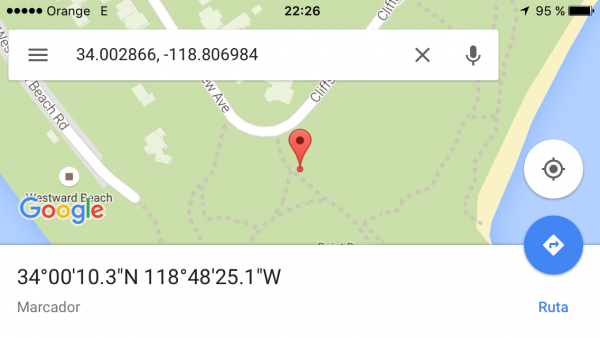 Buscar por coordenadas GPS en Google Maps