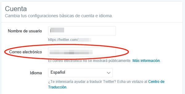 Correo electrónico en la cuenta de Twitter