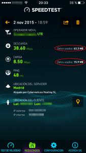 Resultados de la prueba de velocidad con 4G y consumo de datos realizado