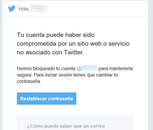 Tu cuenta puede haber sido comprometida por un sitio web o servicio no asociado con Twitter