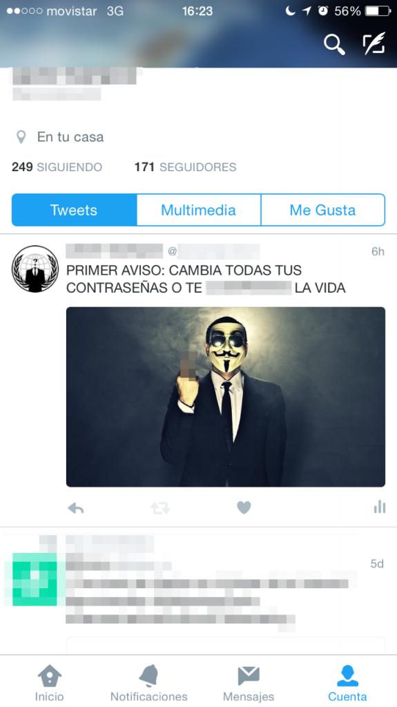Cuenta hackeada en Twitter