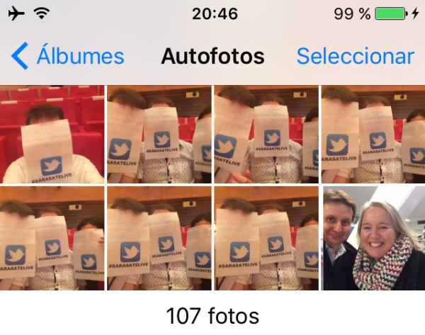 "Álbum de autofotos o ""selfies"" en el iPhone, iPad o iPod touch"