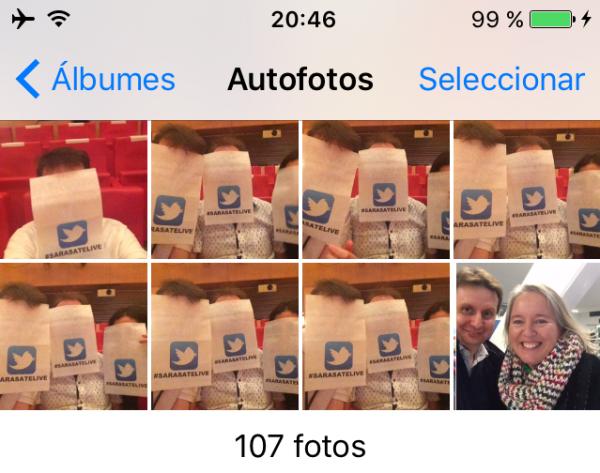 "Álbum de autofotos o ""selfies"" en el iPhone, iPad o iPod touch"