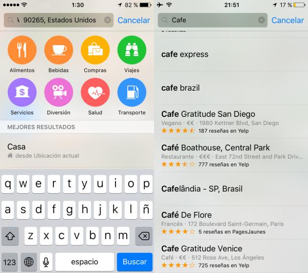 Sugerencias de sitios en Apple Maps