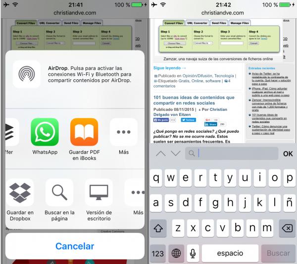 Buscar en la página web con Safari en el iPhone