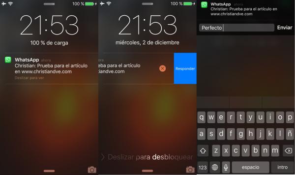 Responder a mensajes de WhatsApp en el centro de notificaciones directamente