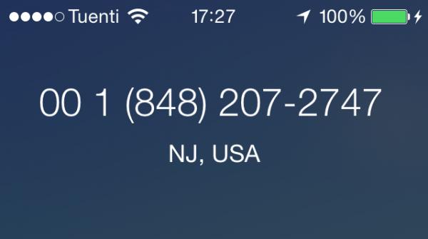 Llamada de Nueva Jersey, EE.UU. (no está en la agenda)