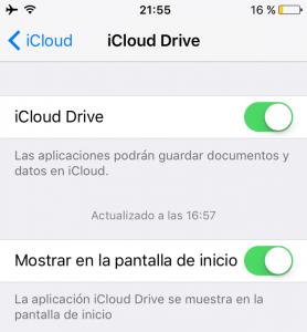 Mostrar iCloud en la pantalla de inicio