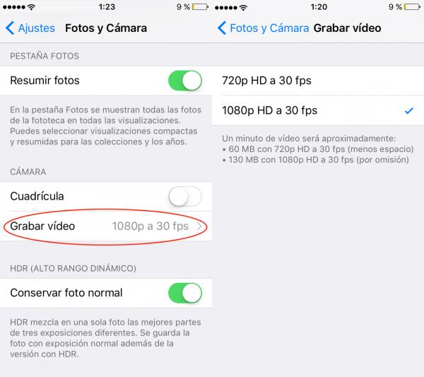 Cómo cambiar la calidad de los vídeos en iPhone