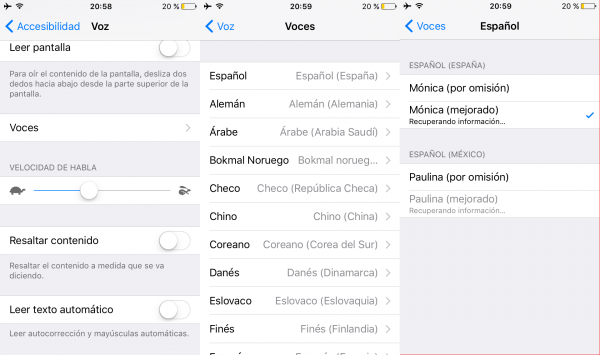 Cambiar la voz al sistema en iPhone, iPad o iPod