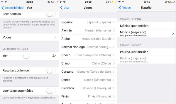 Cambiar la voz al sistema en iPhone, iPad o iPod