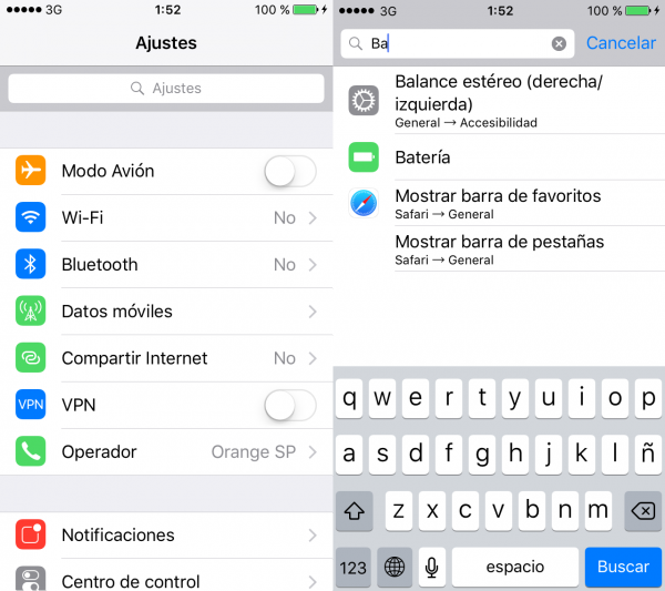 Buscar en los ajustes (iPhone, iPad, iPod)
