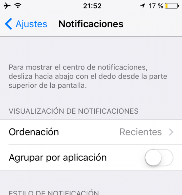 Organización de las notificaciones en el iPhone, iPad, iPod