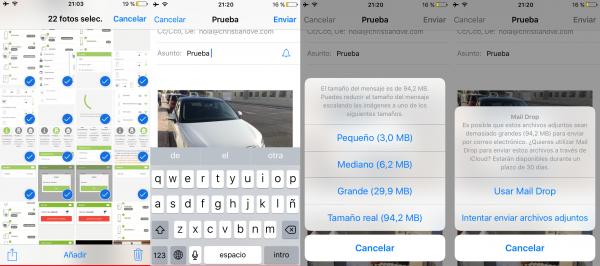 Adjuntar más de 5 fotos a un correo electrónico en Mail para iPhone, iPad o iPod touch