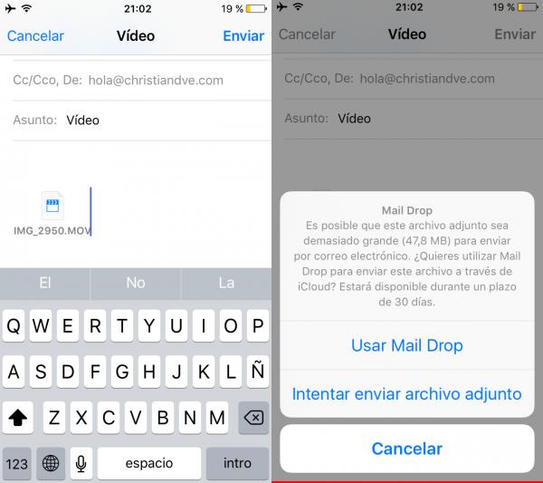 Enviar archivos adjuntos al correo electrónico por Mail Drop