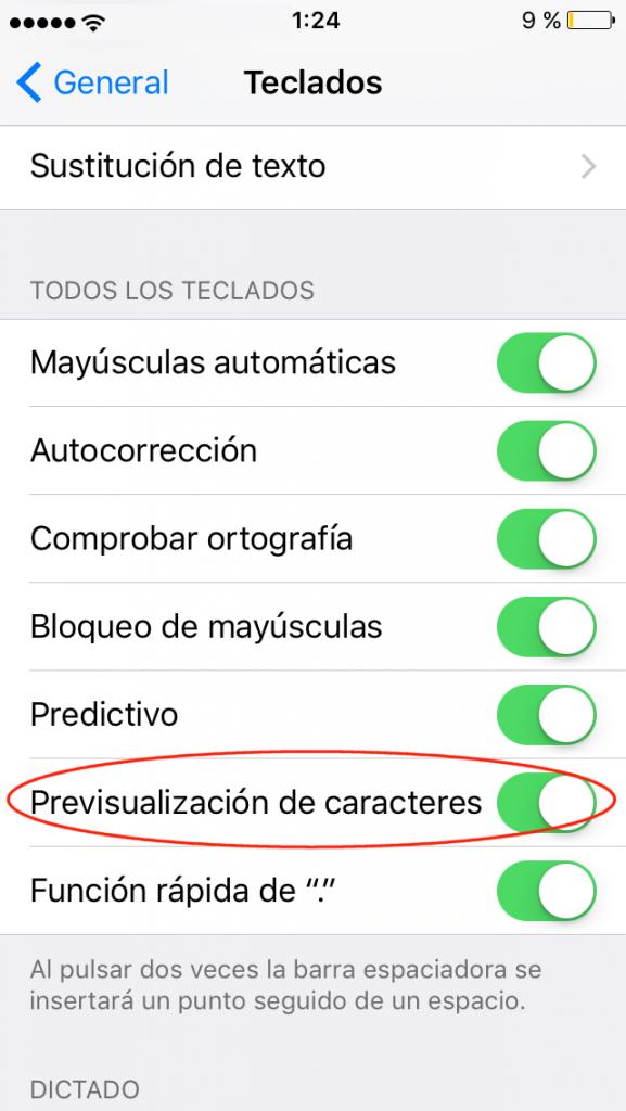Activar o desactivar la previsualización de caracteres