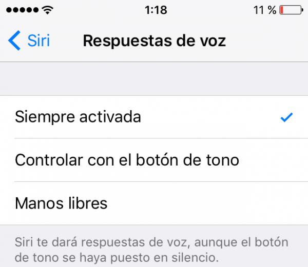 Siri: respuestas de voz