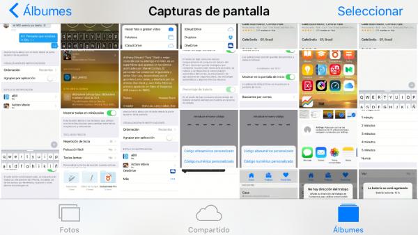 Álbum de capturas de pantalla en el iPhone