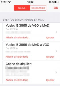 Eventos encontrados en el mail