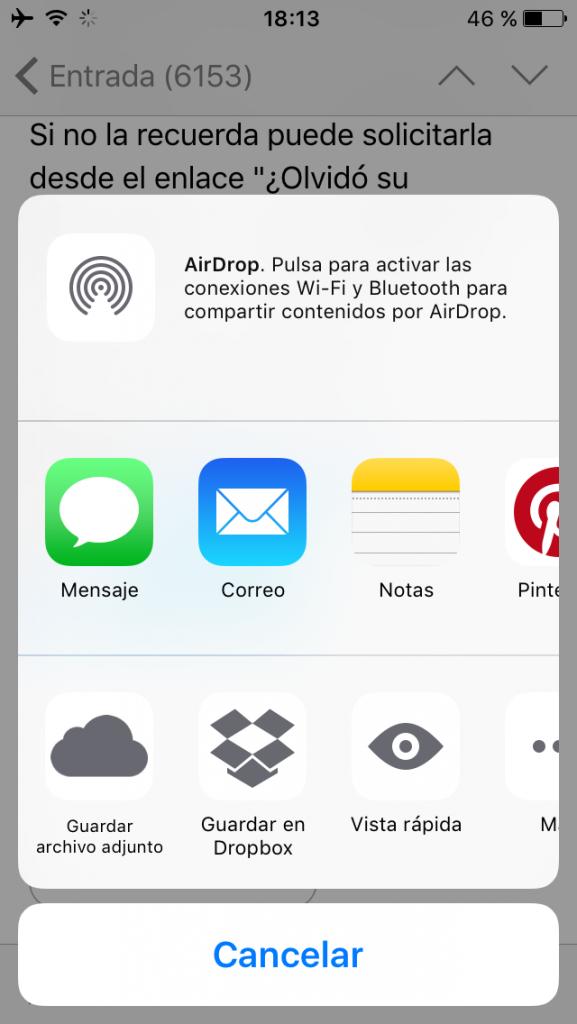 Guardar adjuntos en en iCloud Drive, Dropbox, etc.