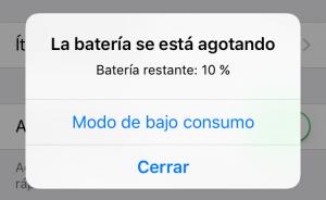 La batería se está agotando - Modo de bajo consumo