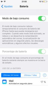 Modo de bajo consumo en el iPhone