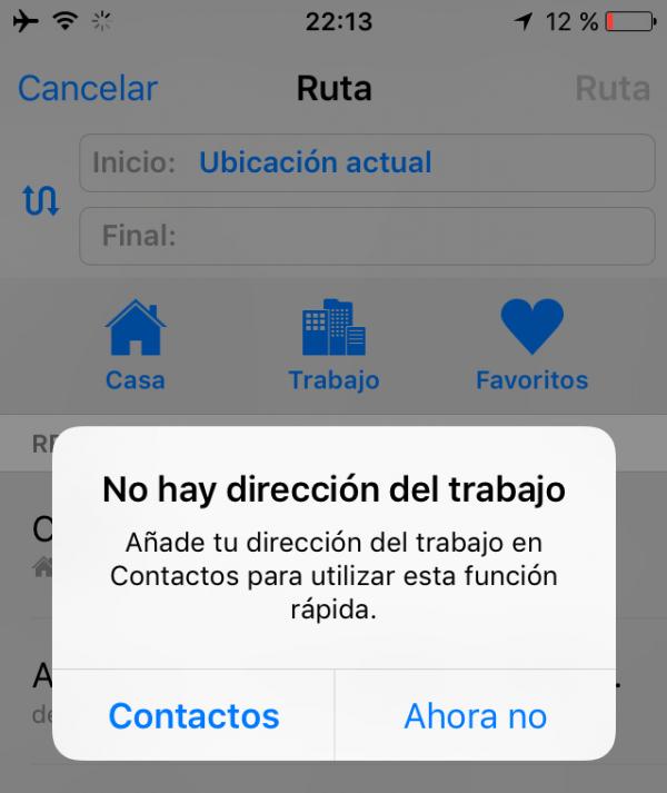 No hay dirección del trabajo en Apple Maps