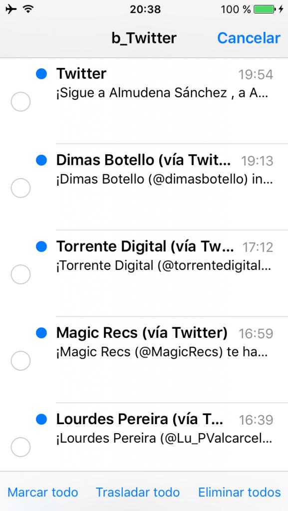 Varias operaciones con los correos en Mail del iPhone