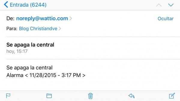Aviso por correo electrónico de que se ha apagado la central
