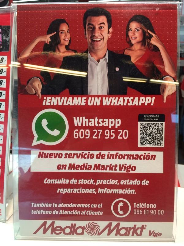 WhatsApp en MediaMarkt Vigo (marzo de 2015)